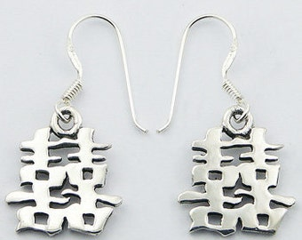 Lovely Feng Shui Sterling Silver Chinese Symbol Happiness Dangle Earrings Free Shipping
