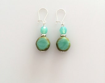Earrings turquoise resin