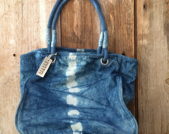Shibori Handbag ~ Indigo Shoulder bag ~ Blue Canvas bag