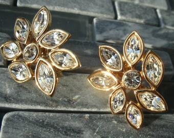 Monet Vintage Rhinestone Clip Earrings Teardrop Large Sparkle