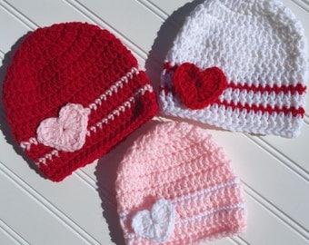 Baby Valentine's Day Crochet Hat, Newborn Photography Prop, Toddler Hat, Heart Hat, Toddler Valentines Hat