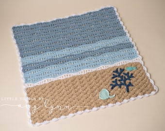 Ocean Baby Blanket - Nautical Beach Blue Turquoise