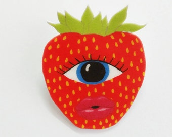 """Brooch // Pin // Strawberry // Eye // Fruit // Wearable art // shrink plastic // """"Strawberry Cyclops"""" // quirky"""