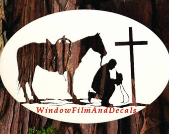 "Praying Cowboy Oval Static Cling Window Decal 12"" x 8"" - White with Clear Design"