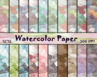 Watercolor digital paper soft pastel Watercolor scrapbooking paper Organic Pattern  Rainbow Wallpaper Watercolor Digital Paper Pack 12x12