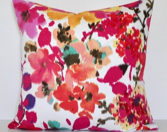 FLORAL IKAT PILLOW // Pink Floral Ikat Print Cotton Pillow, Pink Pillow, Floral Pillow, Throw Pillow, Toss Pillow