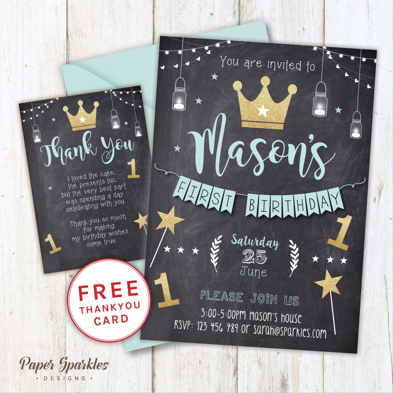 First Birthday Party Invitation Boy Chalkboard: Chalkboard First Birthday Invitation Crown Invitation