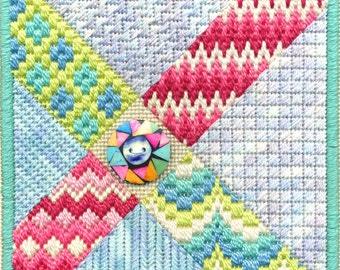 Bargello Button Needlepoint Complete Kit