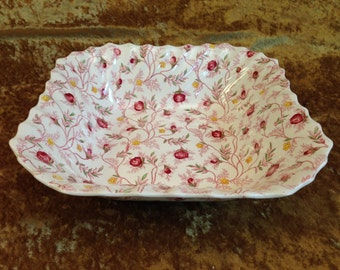 "Spode ROSEBUD CHINTZ 9 1/4"" square vegetable bowl discontinued pink rose bud serving dish England Copeland Spode"