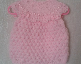 Girl's Summer Set, Knitted set, Romper And Hat Set, Baby Girl, Pink Knitted Set