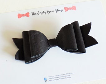 Large Black 100% leather bow clip, large leather bow, black leather bow clip