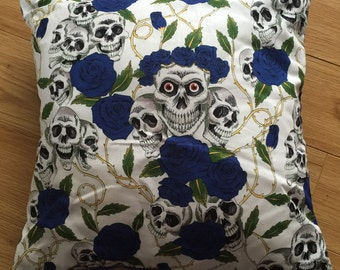 Skulls and Blue Roses cushion