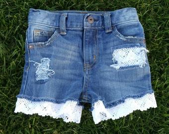 Lace Shorties - Girls, Custom Distressed Denim Shorts, Baby, Toddler