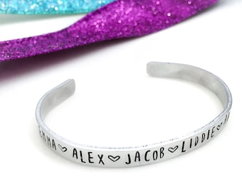 Mother's Cuff Bracelet | Hand stamped aluminum | brass | copper | personalized | custom bracelet | gifts for mom | name of child |