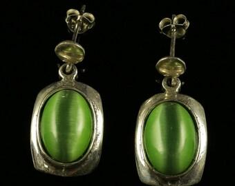 Green Cats Eye Silver Drop Earrings