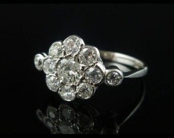 Spectacular 1.50CT Old Cut Diamond Cluster 18CT Ring
