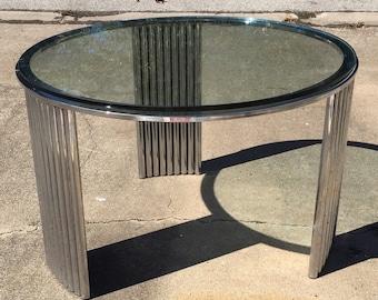 Art deco chrome coffee table