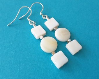 Ivory Mother of Pearl Stacks . Earrings