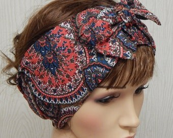 Womens hair scarf, stylish head wrap, bandana head scarf, gift for women, tie up headband, self tie hair wraps, summer head accessories