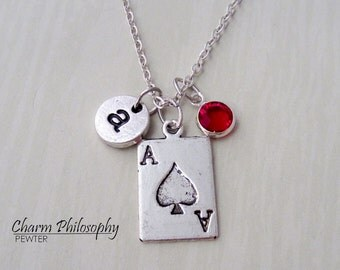Ace of Spades Necklace - Gambling Jewelry - Antique Silver Jewelry - Monogram Personalized Initial and Birthstone