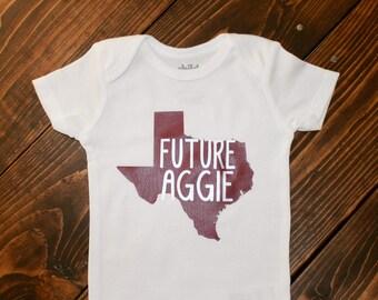 Texas A&M Future Aggie Bodysuit | Baby Shower | Gig Em | Newborn | 12th man | College Station | Texas | University | Baby Gift