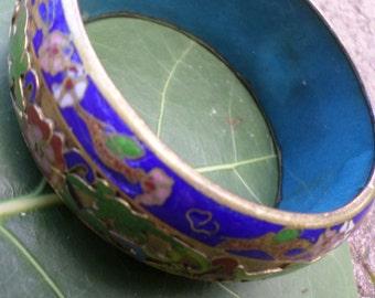 Vintage Cloisanne Bracelet Blue Gold Green Flowers