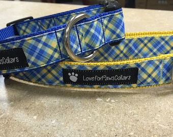 Blue and Yellow Plaid Collar