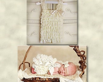 20% OFF SALE Baby Lace Romper-Petti lace romper- ivory lace romper- Girls lace romper-Newborn romper- Baby Romper- Baby outfit-Baby clothes-