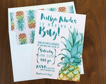 Pineapple Baby Shower Invitation - Tropical Invites - Beach Baby Shower - Summer Baby Shower - Printed Invitations
