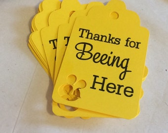 Thanks for Beeing Here Favor Tags, Set of 12 Bee Gift Tags