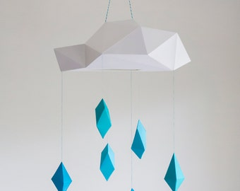 Blue Poly Rain Cloud Mobile - paper art sculpture decoration