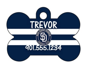 San Diego Padres Personalized Dog Tag Pet Id Tag w/ Your Pet's Name and Number