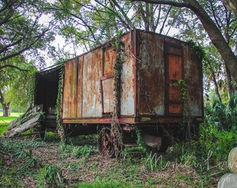 Carny Series 1 of 4: Old Carny Land - Abandoned Vintage Carnival Trailer, Old Sideshow Fine Art Photograph, Wall Decor, Fine Art Print