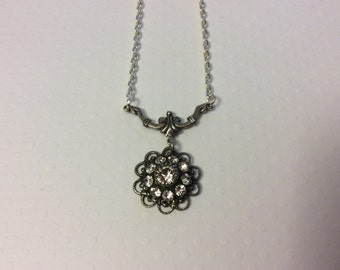 Swarovski Crystal Filigree Flower Necklace