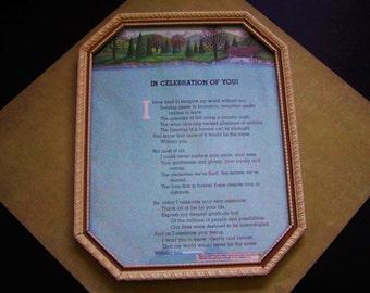 """Framed Poem by James Kavanaugh """"In Celebration of You!"""""""
