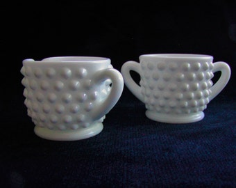 Cream & Sugar Set//Milk Glass//Hobnail//Petite