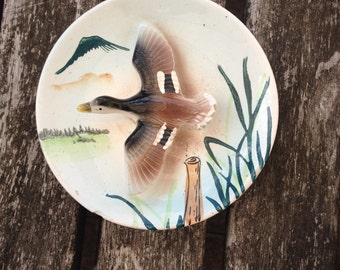 Vintage Trinket / Pin Dish / Wall Plaque With A Flying Duck. In Fair Condition