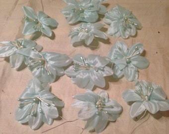 Vintage Baby Blue Acetate Flowers for Craft Projects or Dressmaking.
