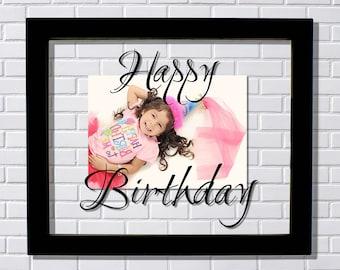 Happy Birthday Frame - Floating Frame - Photo Picture Frame - Birthday Present - Photo Frame for Birthday