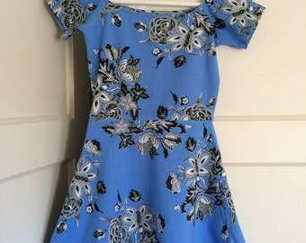 Baby blue flower skater dress