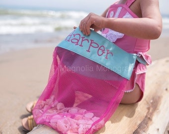 Shell Tote, Monogrammed Shell Tote, Mesh Shell Bag, Shell Bag, Kids Beach Bag