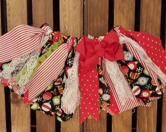 Holiday fabric tutu, Christmas fabric tutu, Girl's fabric tutu, Scrappy skirt, Girl's Christmas outfit,  Christmas tutu