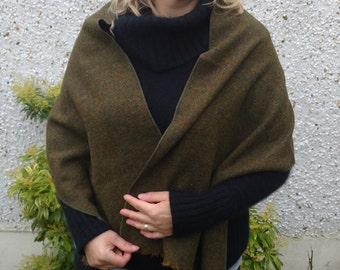 Irish tweed wool shawl, wrap, oversized scarf, stole - brown melange - 100% wool - green/mustard - HANDMADE IN IRELAND