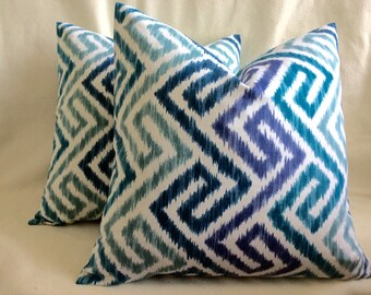 Geometric Designer Pillow Cover Set - Modern Greek Key - Shades of Blue - 21x21