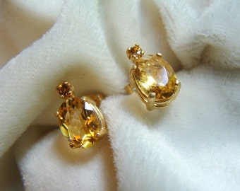 Citrine and Honey Zircon Earrings in 14K Gold