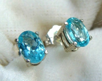 Apatite Stud Earrings Sterling Silver - Paraiba Swimming Pool Blue