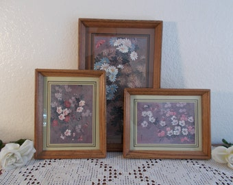Vintage Floral Butterfly Wall Hanging Decoration Trio Collection Set Mid Century Retro Bungalow Country Cottage Boho Home Decor