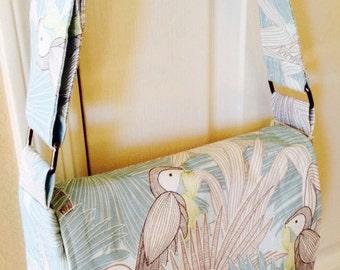 Messenger bag-Bird messenger bag-Tropical bird messenger bag-birthday gift-Christmas gift