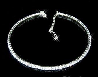 Women Single Row Crystal Rhinestone Collar Necklace/ Choker for Weddings, Proms, Special Occassions