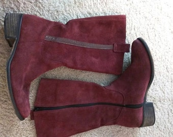 Jeffery Campbell Vintage Red Suede Boots, Size 41 (or 10.5)
